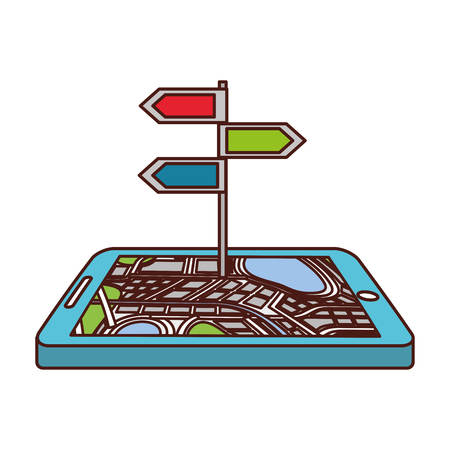 navigation gps device and city map with signpost traffic app vector illustration Illusztráció