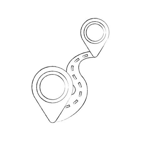 구불 구불 한 길 방법 핀 포인터 탐색 개념 벡터 일러스트 레이션
