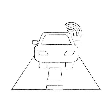 navigation gps signal street car transportation vector illustration