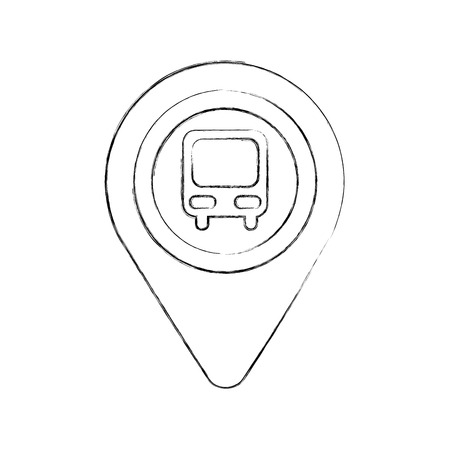 map pointer with symbol bus station for location vector illustration Stock Vector - 87386059