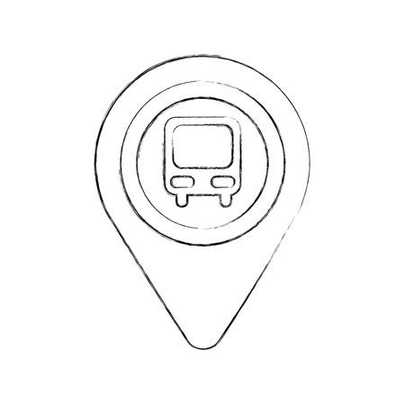 Puntero del mapa con la estación de autobuses símbolo para la ilustración del vector de la ubicación Foto de archivo - 87386059
