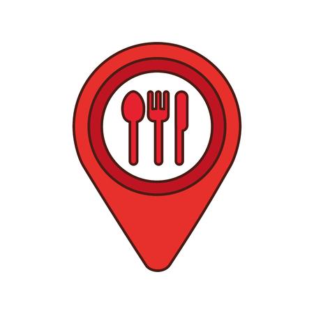 カフェやレストランの看板アイコン ベクトル イラスト マップ ピン ポインター 写真素材 - 87386075