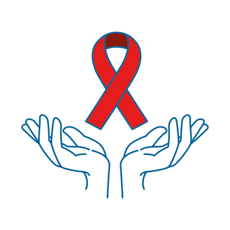 hands human protection with ribbon vector illustration design