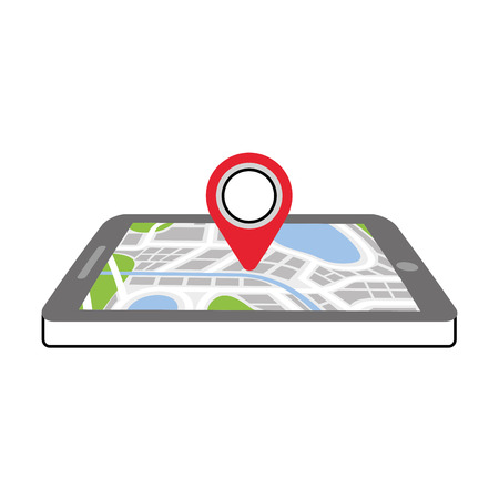 navigation gps device and city map with pins technology and traveling concept vector illustration Banco de Imagens - 87386103