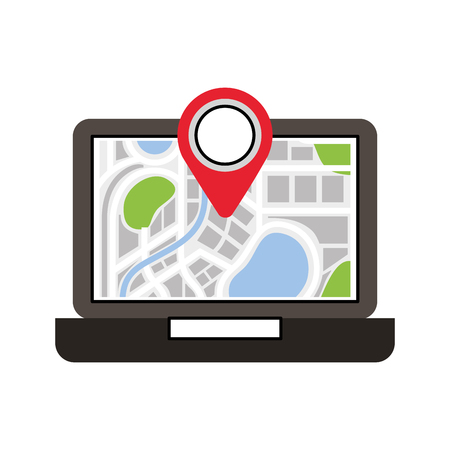 laptop application technology navigation pin map vector illustration Illustration