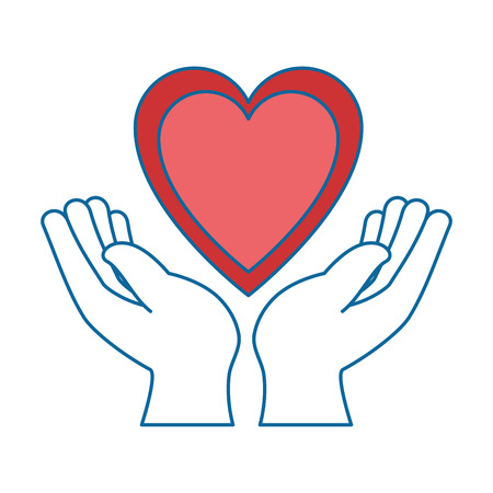 helpful: hands human protection with heart vector illustration design Illustration