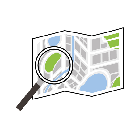 folded map navigation with magnifier search icon vector illustration