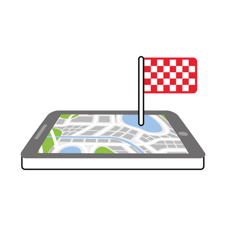 navigation gps device and city map with finish flag technology and traveling concept vector illustration Фото со стока - 87435646