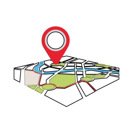 지도 탐색 gps 흰색 배경에 고립 된 포인터로 벡터 일러스트 레이 션 일러스트