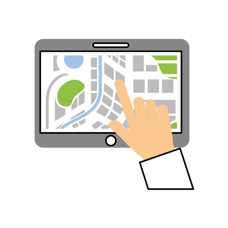 hand touching tablet pc with street map pointer mobile gps navigation app vector illustration Stock fotó - 87386136