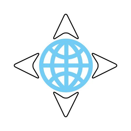 Globus und vier Pfeil Navigation Ziel Welt-Vektor-illustration Standard-Bild - 87386137
