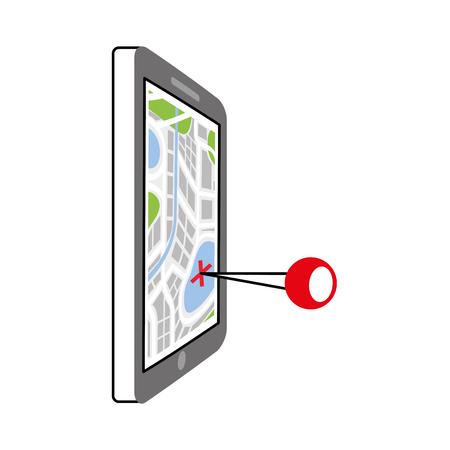 ピンの技術と概念のベクトル図を旅行ナビゲーション gps デバイスと市内地図