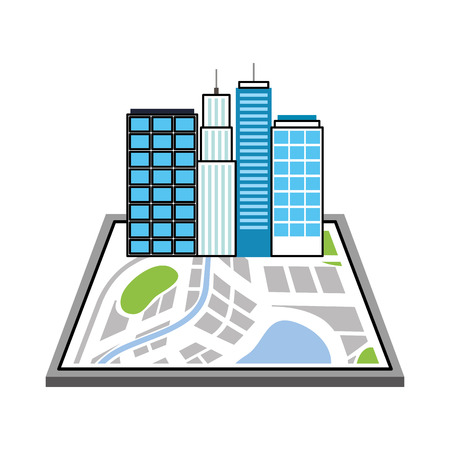 buildings town on the map navigator destination icon vector illustration