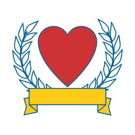 Corazón con diseño de ilustración de vector de icono de cinta Foto de archivo - 87386148