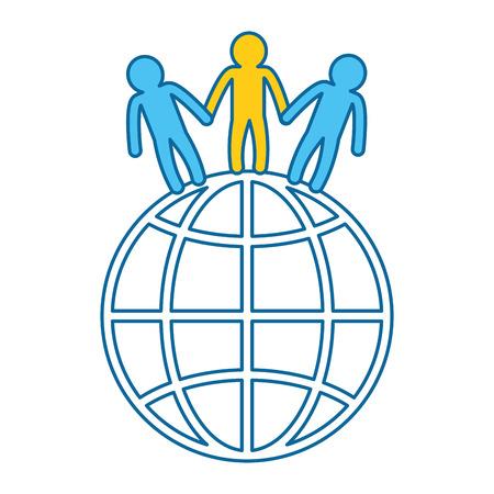 world planet with people vector illustration design Illustration