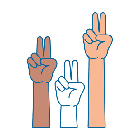 peace and love hands symbol vector illustration design
