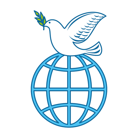 dove of peace with planet vector illustration design Illustration