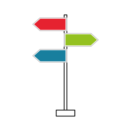 guidepost: traffic signal arrows guide direction icon vector illustration Illustration