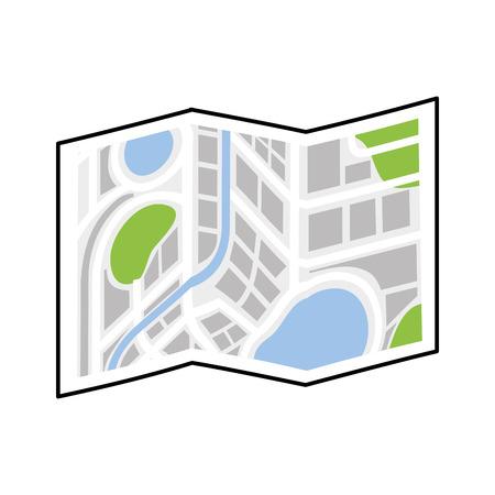 folded map navigation city direction location vector illustration