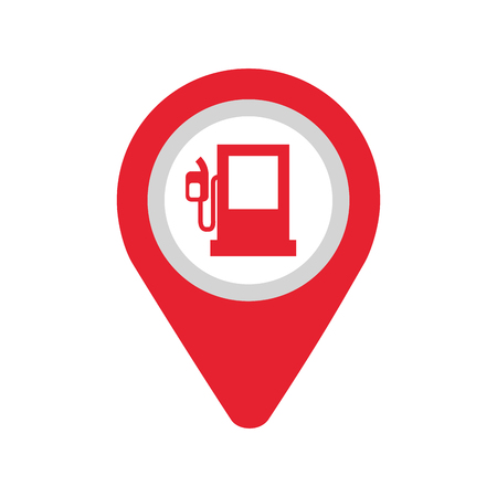 ガソリン スタンド アプリケーション署名アイコン ベクトル イラスト地図のピン