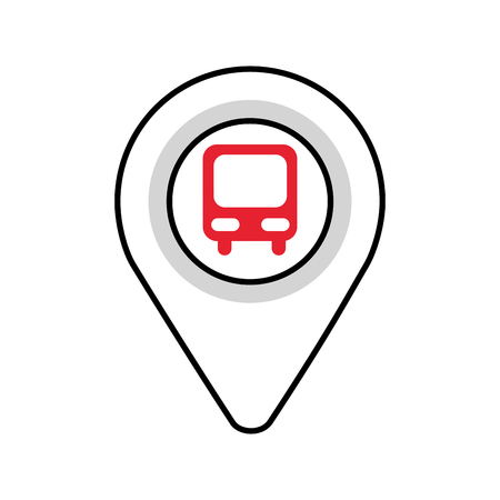 map pointer with symbol bus station for location vector illustration Stock fotó - 87386204