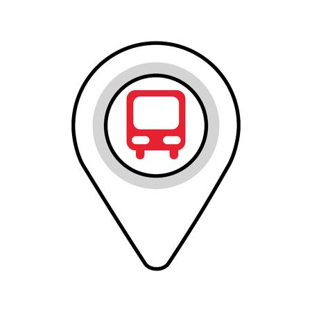 Puntero del mapa con la estación de autobuses de símbolo para la ilustración de vector de ubicación Foto de archivo - 87386204