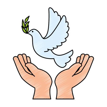 평화로운 벡터 일러스트 디자인의 비둘기와 인간의 손에 일러스트
