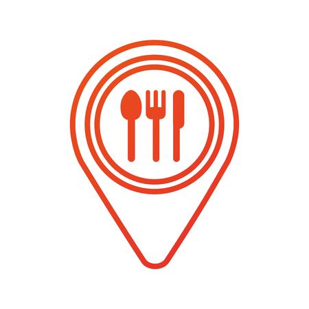 カフェやレストランの看板アイコン ベクトル イラスト マップ ピン ポインター  イラスト・ベクター素材