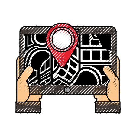 hand holding device with map navigation gps vector illustration
