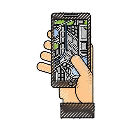 hand holding mobile phone with gps navigator screen vector illustration Illustration
