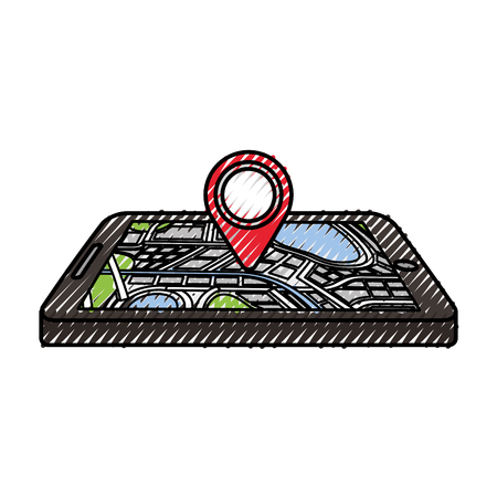 navigation gps device and city map with pins technology and traveling concept vector illustration Фото со стока - 87386267