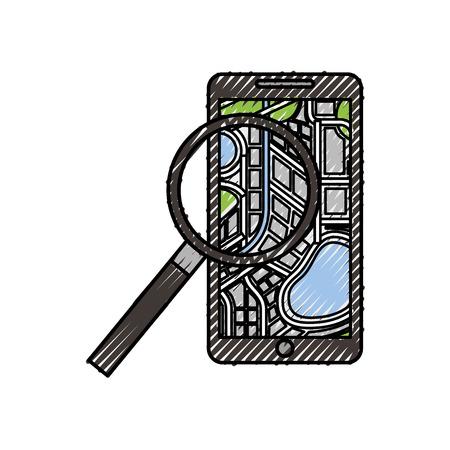 携帯ナビゲーター地図拡大鏡アプリ ベクトル図