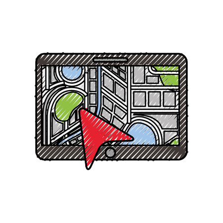 navigation gps device and city map with pins technology and traveling concept vector illustration Banco de Imagens - 87386278