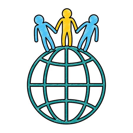 world planet with people vector illustration design Illustration