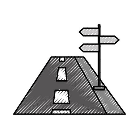 Carretera de concepto de navegación con la ilustración de vector de tráfico de signo Foto de archivo - 87386286