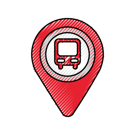 map pointer with symbol bus station for location vector illustration Stock Vector - 87386302