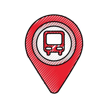 Puntero del mapa con la estación de autobuses símbolo para la ilustración del vector de la ubicación Foto de archivo - 87386302