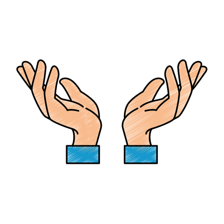 cupped: hands human protection icon vector illustration design
