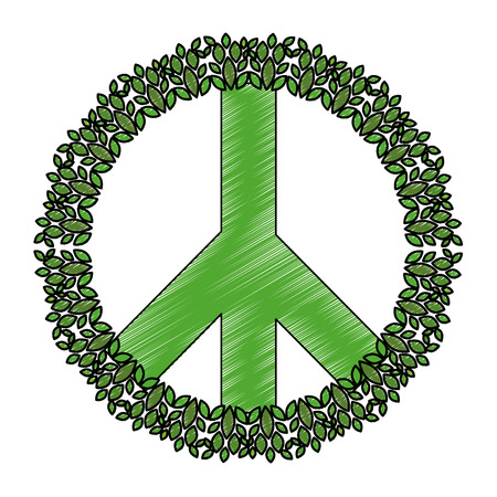 peace symbol with leafs vector illustration design