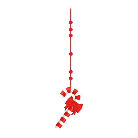 merry christmas cane with bow vector illustration design Ilustrace