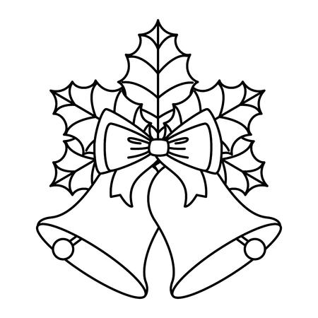 Wesołych Świąt Dzwon z kokardą i liści dekoracyjnych ilustracji wektorowych projektowania Ilustracje wektorowe