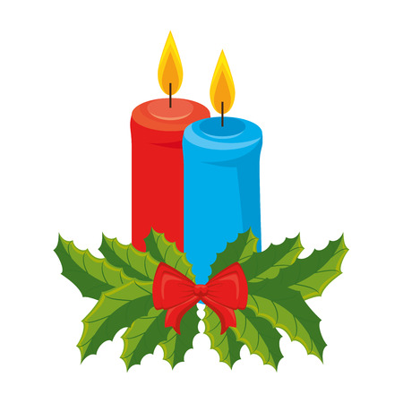 merry christmas candles with bow and leafs vector illustration design