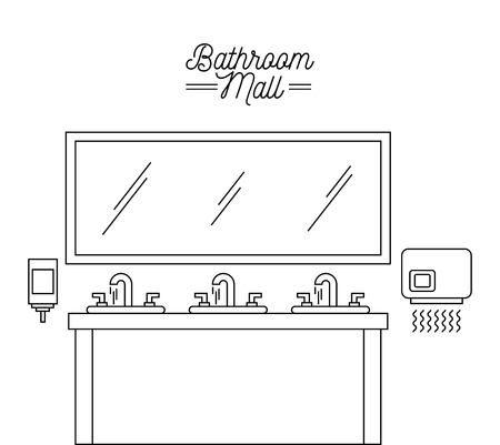 bathroom mall sink mirror hand dryer and soap vector illustration