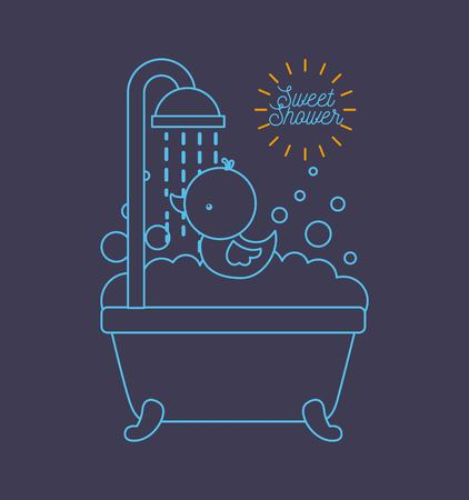 sweet shower bathtub and duck foam bubbles blue background vector illustration