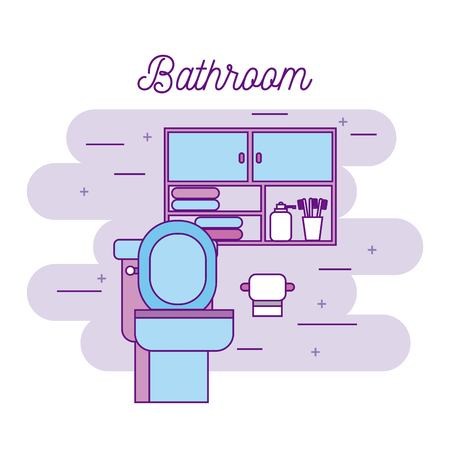 bathroom toilet paper cabinet furniture towels vector illustration Ilustração