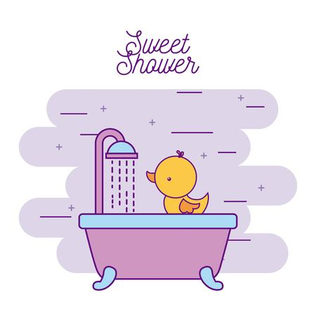 sweet shower bathtub and duck wash vector illustration Illusztráció