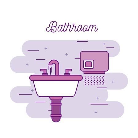 dryer: bathroom sink and hand dryer equipment vector illustration