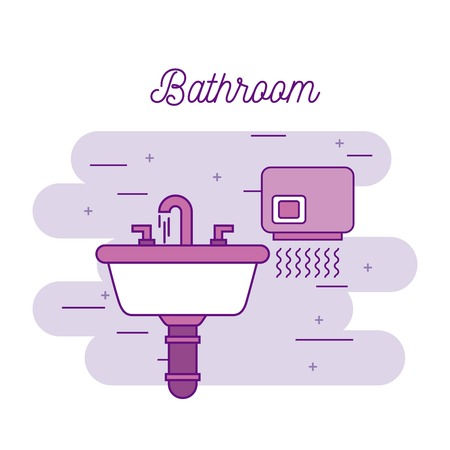 bathroom sink and hand dryer equipment vector illustration