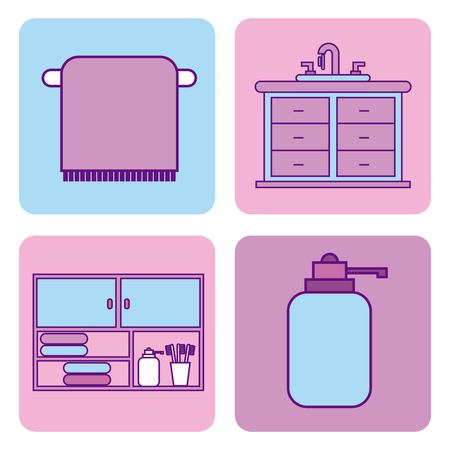 bathroom set of icons equipment elements concept vector illustration Banco de Imagens - 87473454