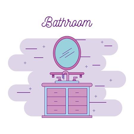 bathroom sink shelf and mirror element vector illustration